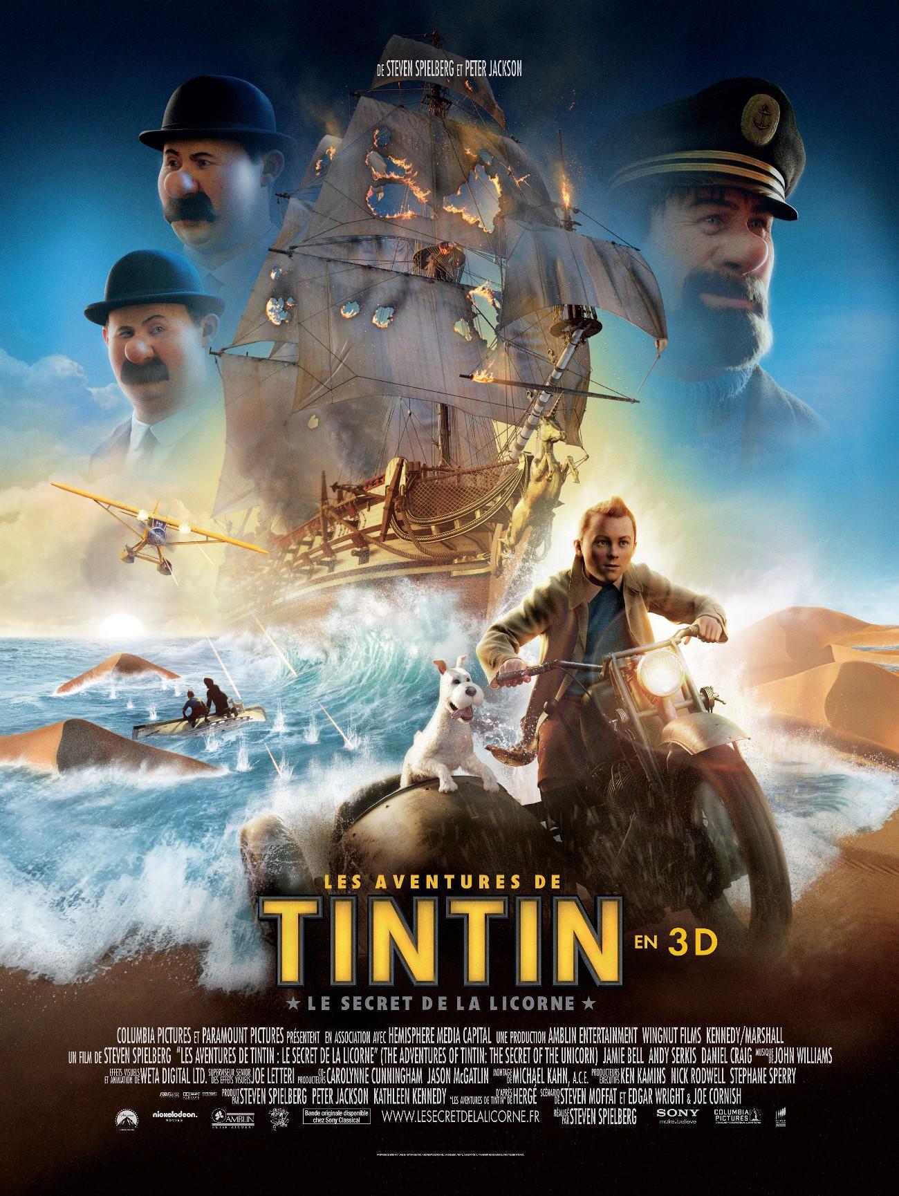affiche du film Les aventures de Tintin : Le secret de la Licorne