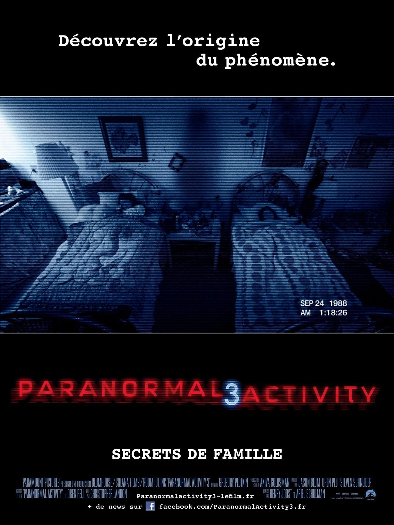 affiche du film Paranormal Activity 3