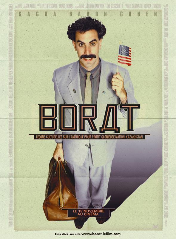 affiche du film Borat, leçons culturelles sur l'Amérique au profit de la glorieuse nation Kazakhstan