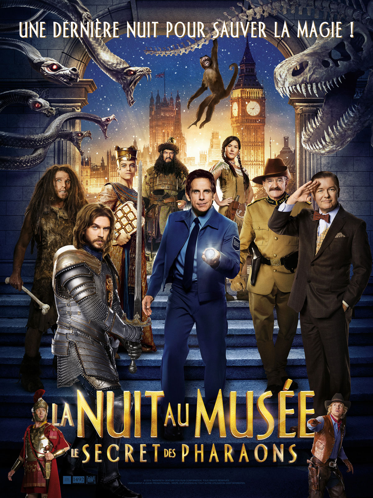 affiche du film La nuit au musée 3 : Le secret des pharaons