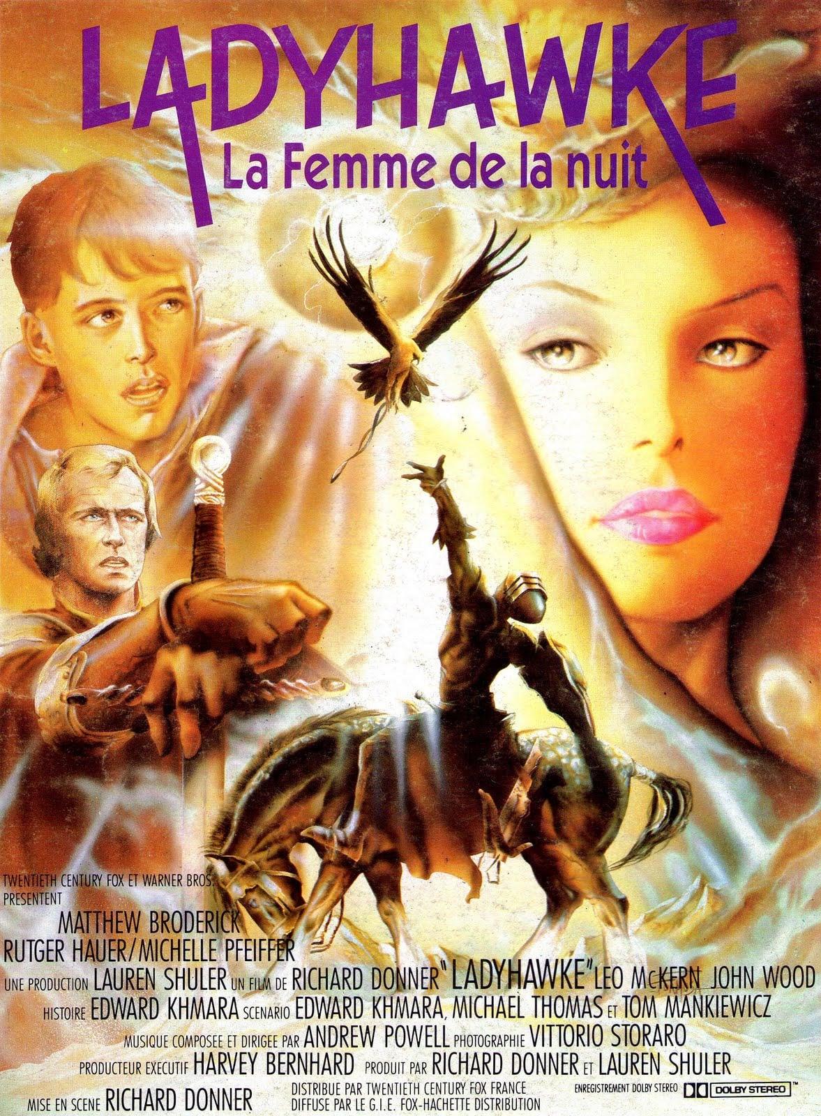 affiche du film Ladyhawke, la femme de la nuit