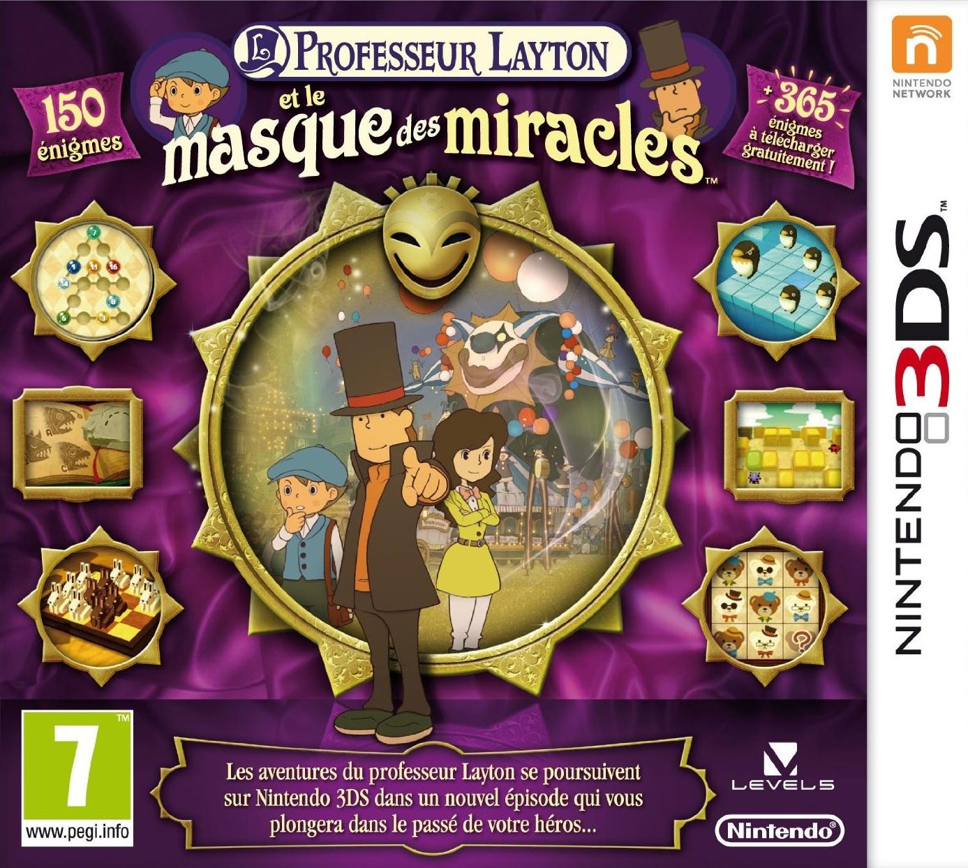 jaquette du jeu vidéo Professeur Layton et le Masque des Miracles